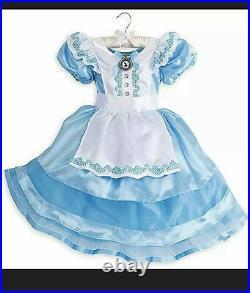 NEW DISNEY STORE ALICE IN WONDERLAND Dress Costume Sz 4 + Tiara Headband RARE
