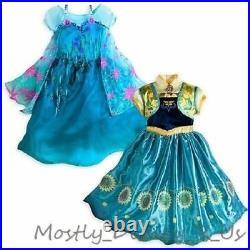 NEW Disney Store Frozen Fever Elsa & Anna 2 in 1 Costume Gown Dress 5/6 9/10
