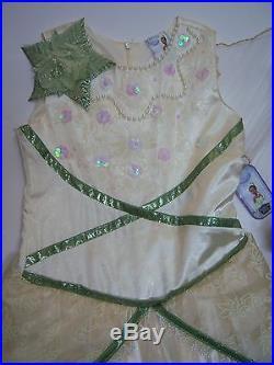 NWT Disney Princess & Frog M 7-8 Tiana Deluxe Wedding Costume Tiara Veil & Shoes