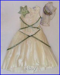NWT Disney Princess & Frog XS 4/4T Tiana Deluxe Wedding Costume Dress Tiara Veil