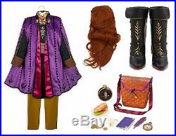 NWT Disney Store Frozen 2 Anna Deluxe Costume Dress 7/8 Boots 13/1 Purse Wig Set
