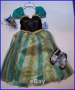 NWT Disney Store Frozen Anna Deluxe Coronation Costume 7/8 Tiara & Shoes 13/1