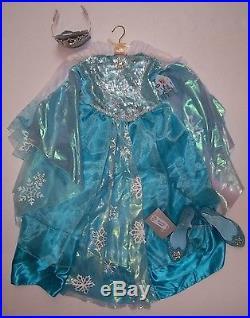 NWT Disney Store Frozen Sz L 9-10 Elsa Deluxe Costume Dress Tiara Wig Shoes 2/3