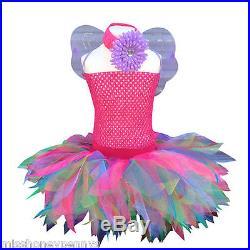 Neon Pink Tutu Skirt 80s Fancy Dress Party Costume Baby Girls Wings Dance SCHOOL