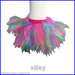 Neon Pink Tutu Skirt Rainbow 80s Fancy Dress Party Costume Fun Run Dance 80's