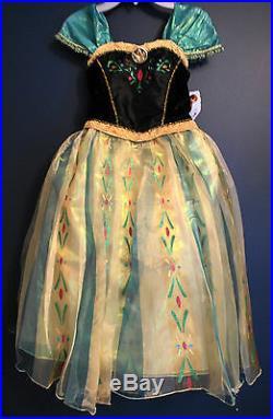 New Disney Store ANNA Frozen DELUXE Costume Dress Girls S 5/6