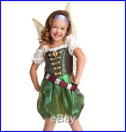 New Disney Zarina Tinkerbell Tink Pirate Fairy Costume Dress Girls M 7 8 & Wings