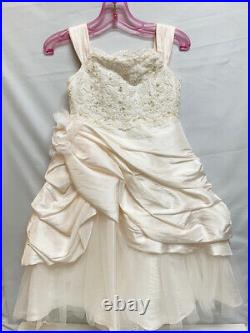 New Joan Calabrese Ivory Ice Pink Girl's Fancy Flower Girl Dress 113358 Size 4