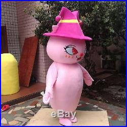 Pink Lovely Girl Mascot Costume Cartoon Cosplay Party Fancy Dress Adults Parade