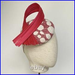 Pink and white spot headpiece, hat, mini hat, fascinator, wedding, ascot