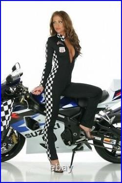 Pit Babe Overalls Suit Speed Racer Black Checker Grid Girl Fancy Dress Carnival