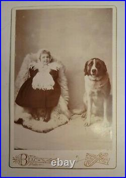 Rare Victorian Pretty Girl with Large Dog Fancy Dress Cabinet Card Lowville, NY