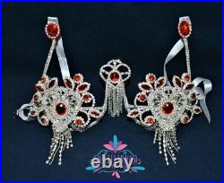 Red Bikini samba Set with necklace Bra Crystal /Orientale/Belly Dance/ show girl