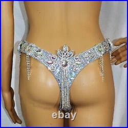 Silver/clear Bra Bikini show girl/ costume samba Set/necklace/ Belly Dance/