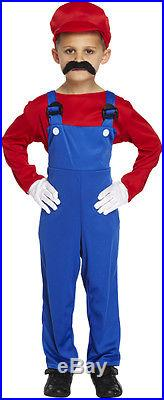 Super Mario Boys Girls Outfit Children Fancy Dress Costume Ages 4-12 Year Red