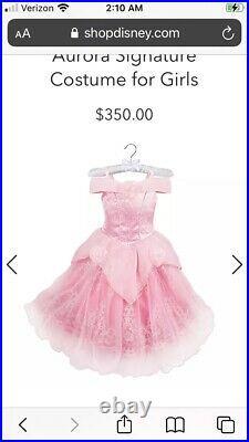 Sz 4 Girls Disney Store Signature Sleeping Beauty Princess Aurora Dress Costume