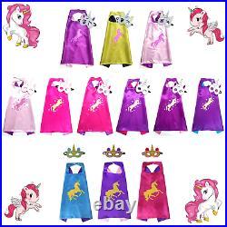 UNICORN CAPE & MASK SET Kids Dressing Up Party Costume Fancy Dress Girls Kit