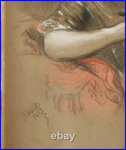 Unreadable Signed Mack Or Mair Pastel Antique Portrait Girl Fancy Dress Girl
