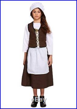 Victorian Maid Girls Fancy Dress Servant World Book Day Week Kids Child Costume