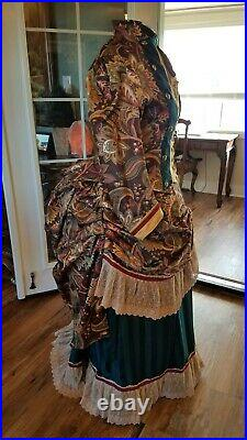 Victorian bustle dress in brown paisley cotton reproduction