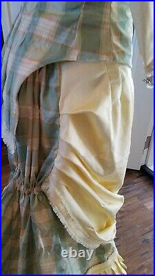 Victorian bustle dress in yellow plaid reproduction Natural form
