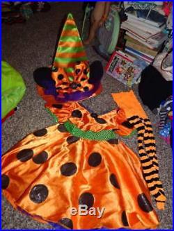 Walt Disney World Kids Sm 6/6x Minnie Mouse Orange Polka Dot Dress Witch Hat Tig
