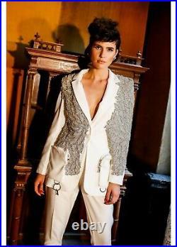Woman's Lou Lou White Jeweled Cut Glass Rhinestone encrusted Blazer Angel wings